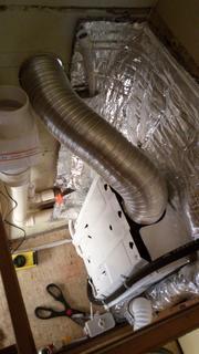 Exaustor perto do duto da chaminé. Ainda sem a aplicação do termotape no duto.
